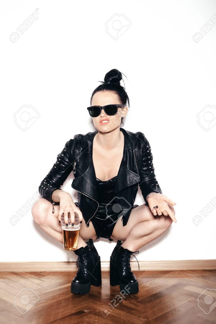 Veste en cuir swag femme