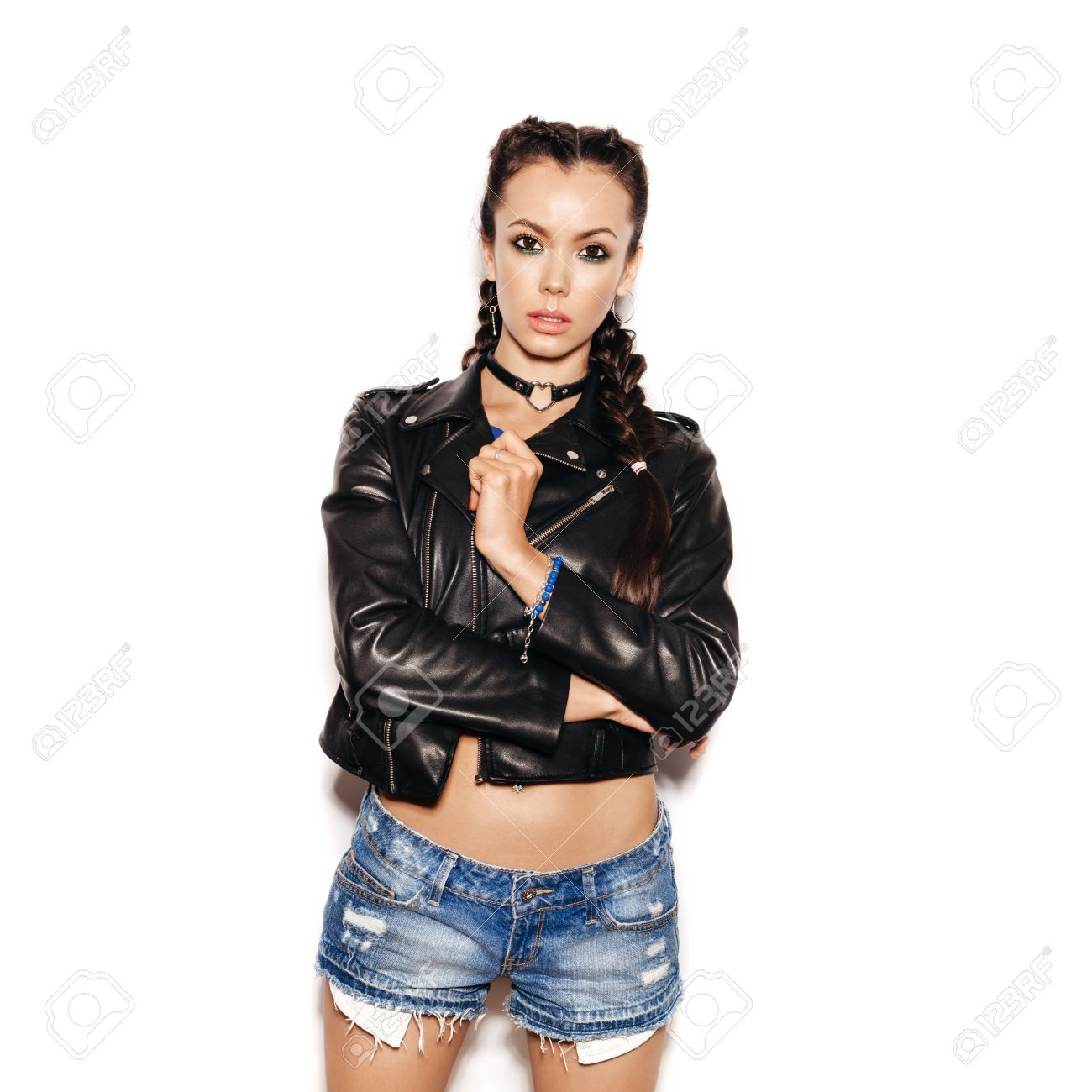 Veste en cuir pour jeune fille