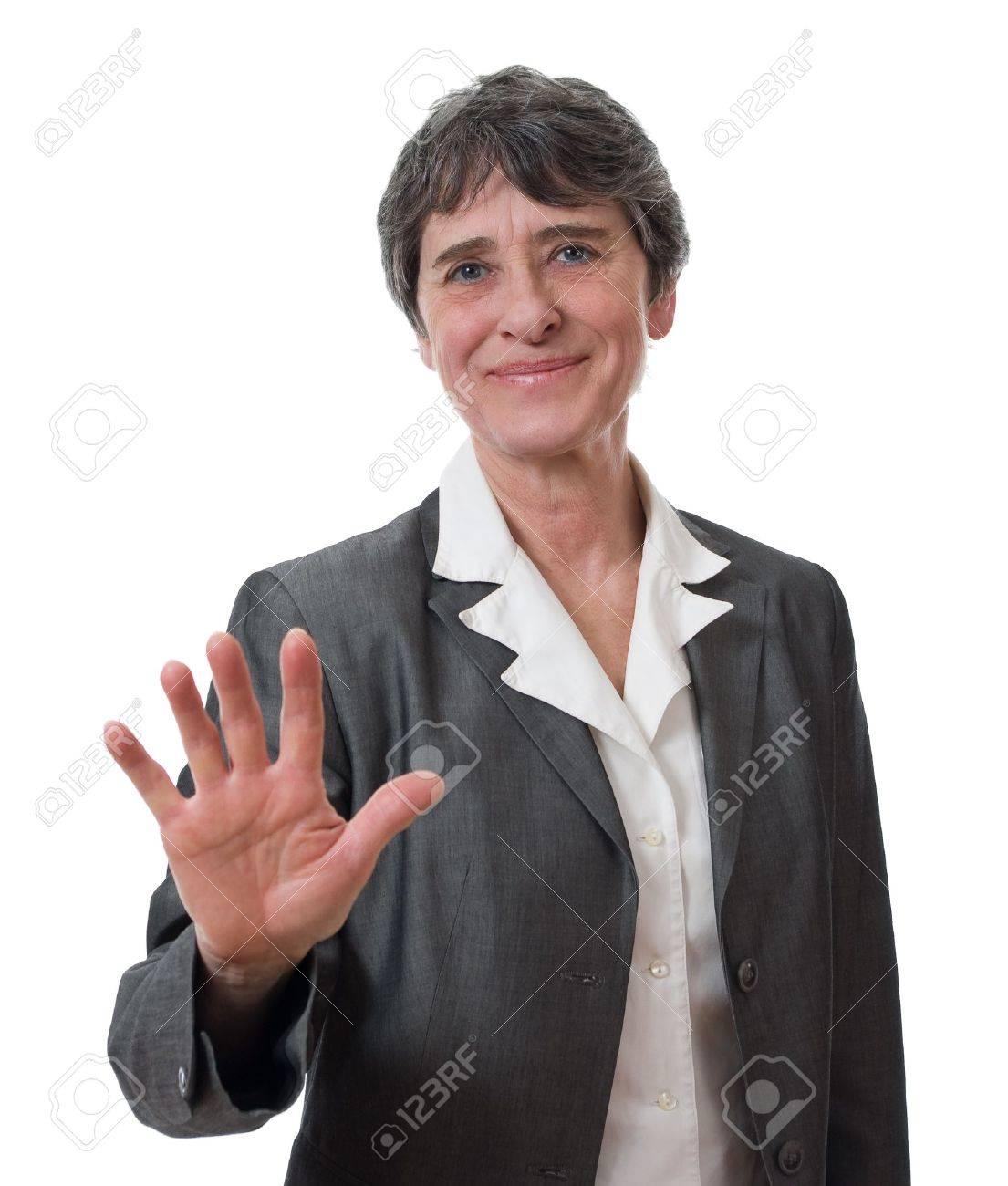 mature businesswoman refusing isolated on white background Stock Photo - 9077291