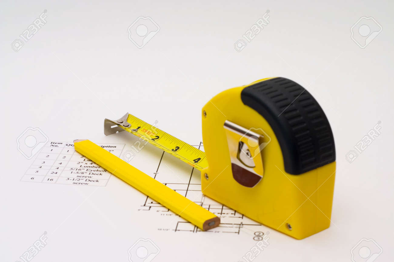 Measuring tape to help illustrate construction projects Stock Photo - 1364881