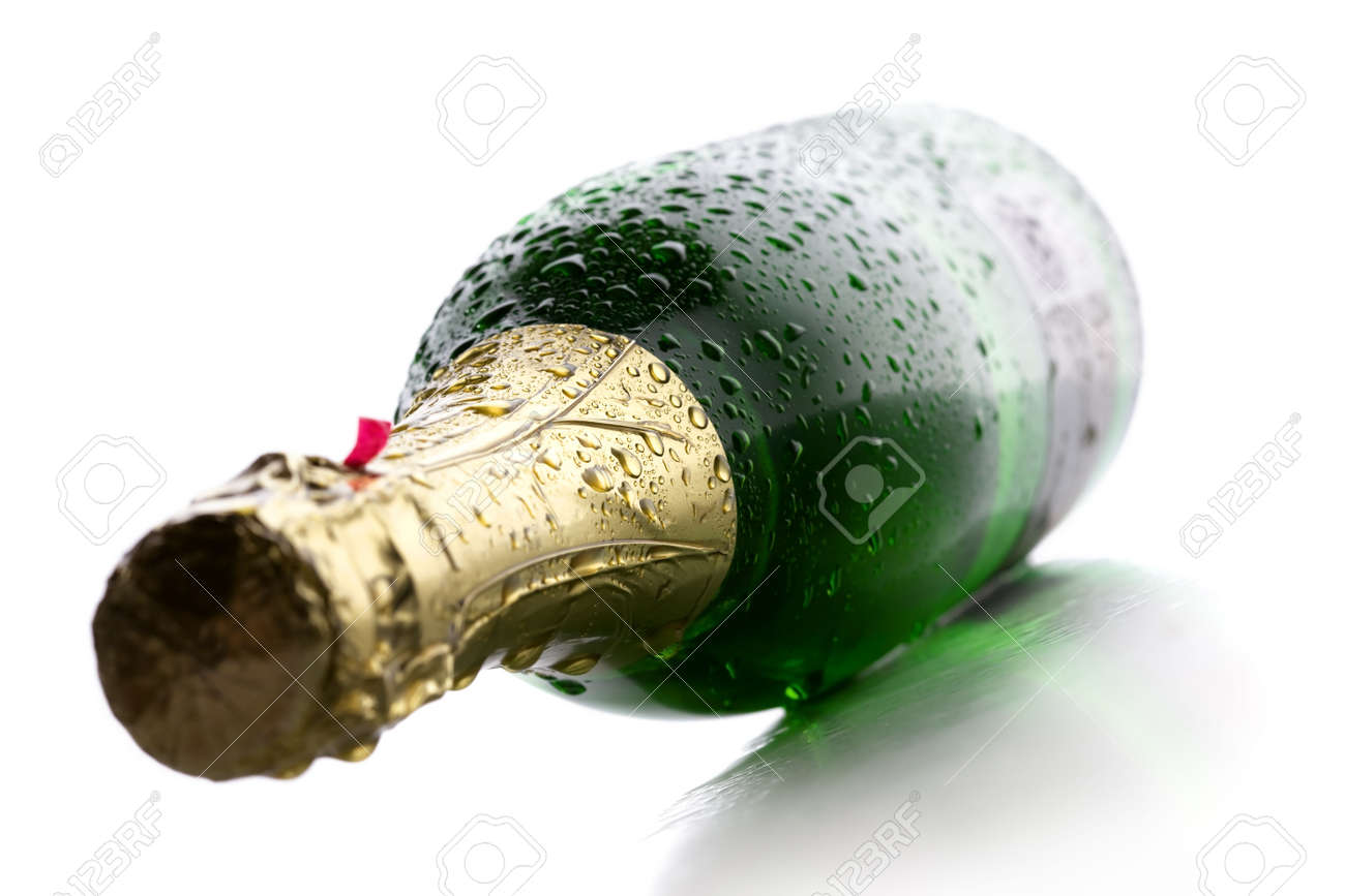 Cold wet bottle of champagne wine on white background Stock Photo - 7318045