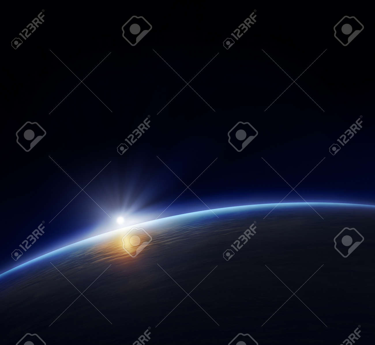 Planet Earth with rising sun in space Stock Photo - 8784409
