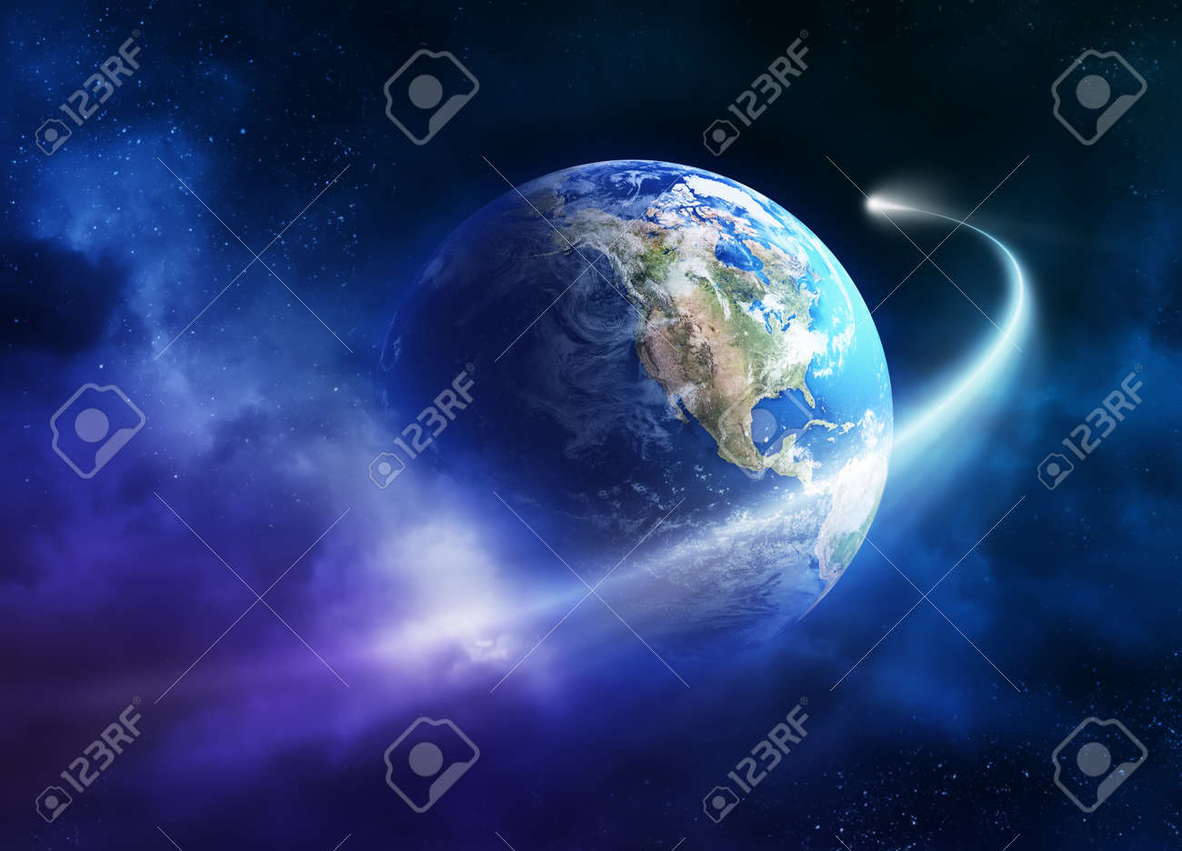 Comet passing earth in a nebula cloud Stock Photo - 8903843