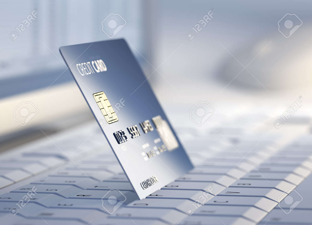 Credit Card on keyboard with desktop computer system in background - 3d Stock Photo - 15892830