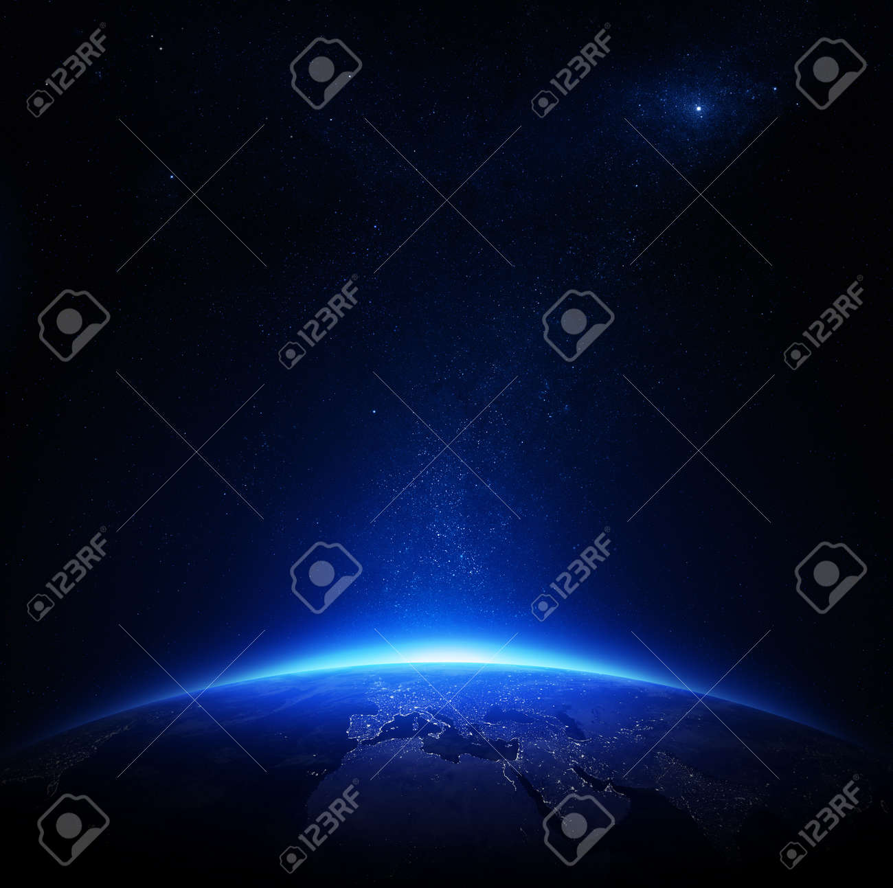 Earth at night with city lights Elements of this image furnished by NASA - 18023479