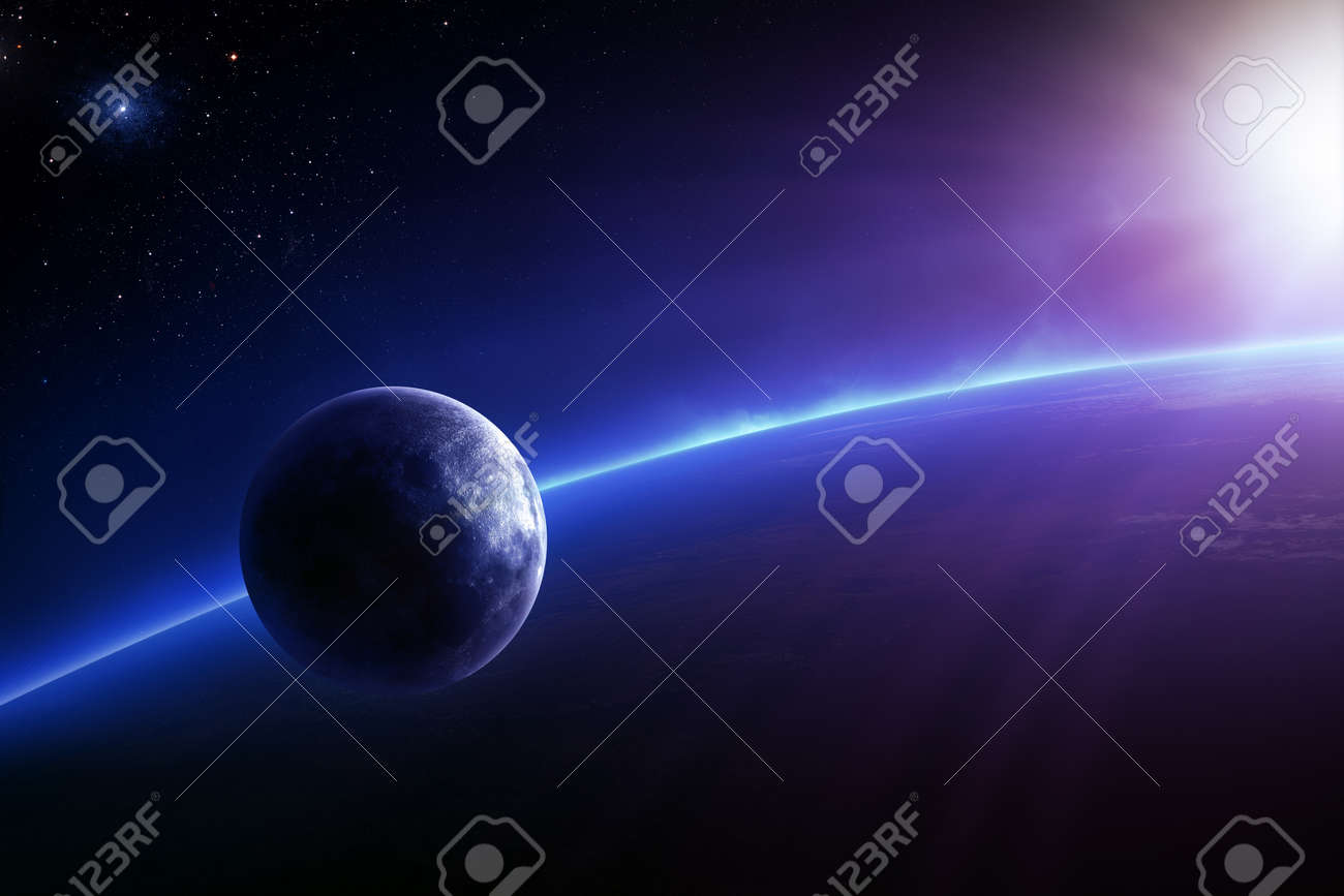 Fantasy Earth and Moon in colourful space with sunrise - 26588771