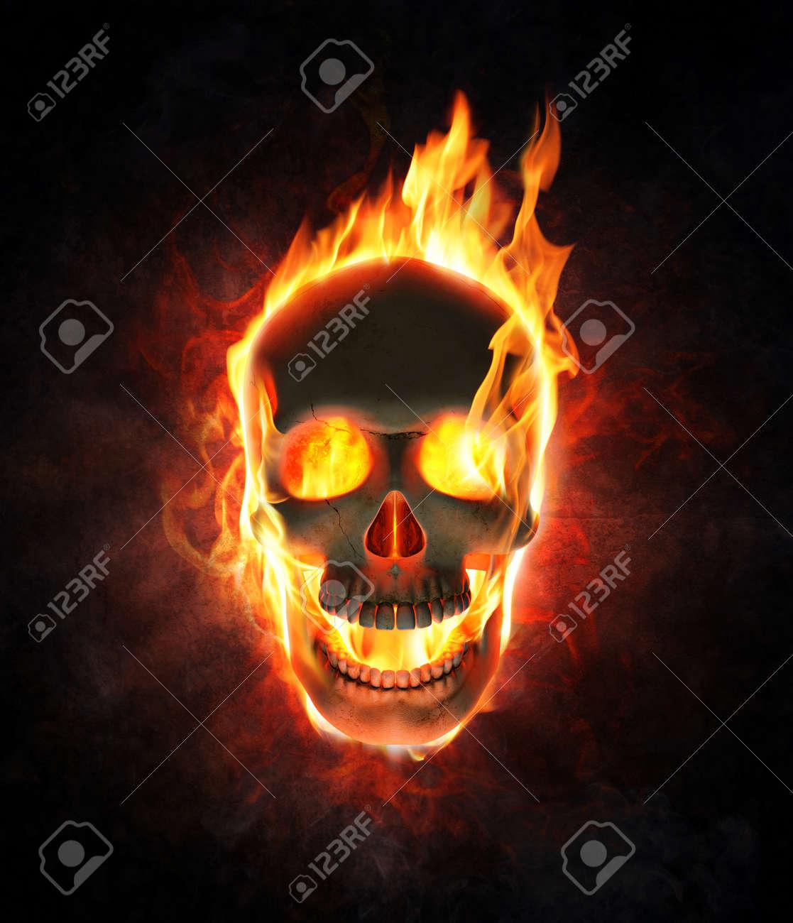 Inferno Em Chamas Simple crânio mau ardendo em chamas -, 3d, render foto royalty free