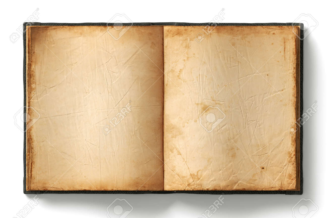 open book with empty old worn pages on white background stock photo 33928850 - Book Pages