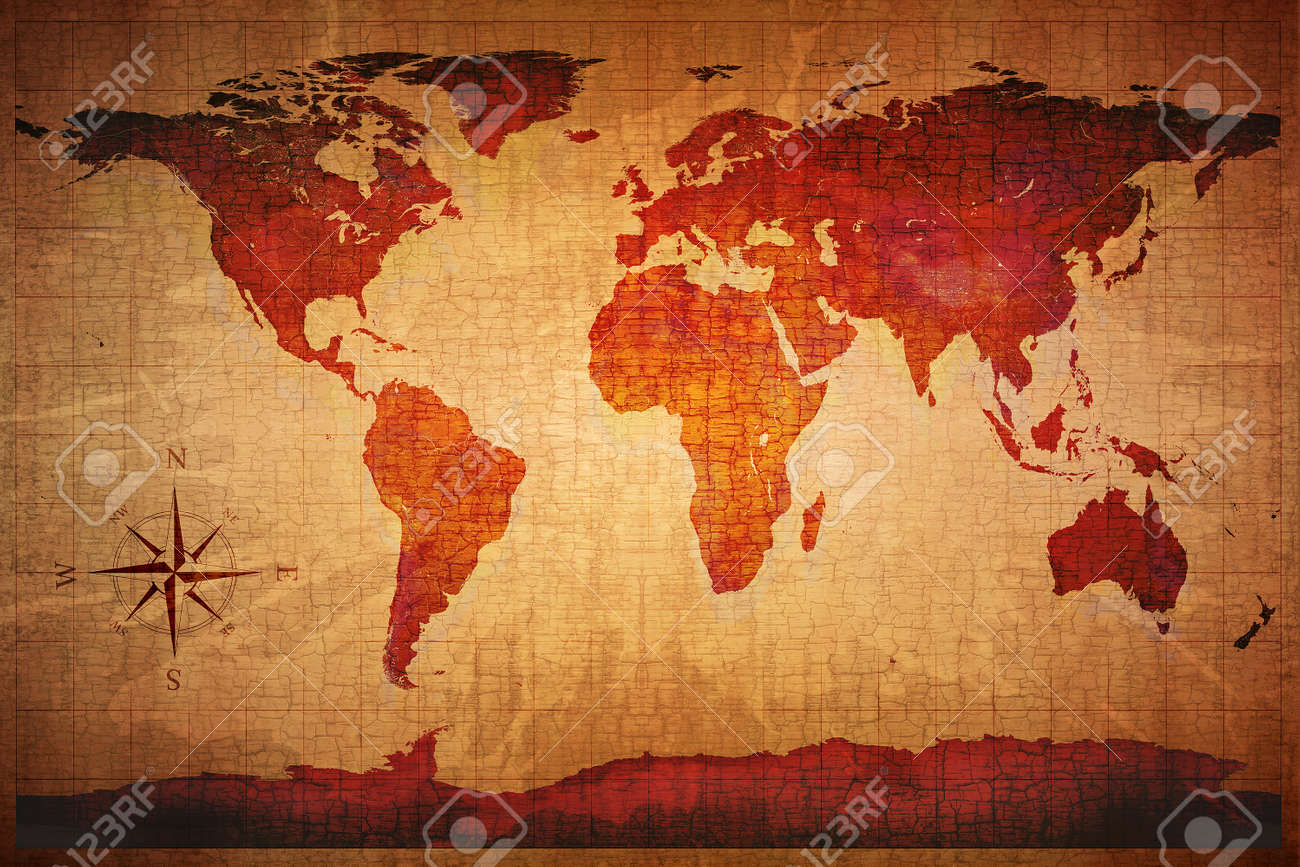 12238 old world map cliparts stock vector and royalty free old world map on old grungy antique and yellow cracked paper background map derived from http gumiabroncs Images
