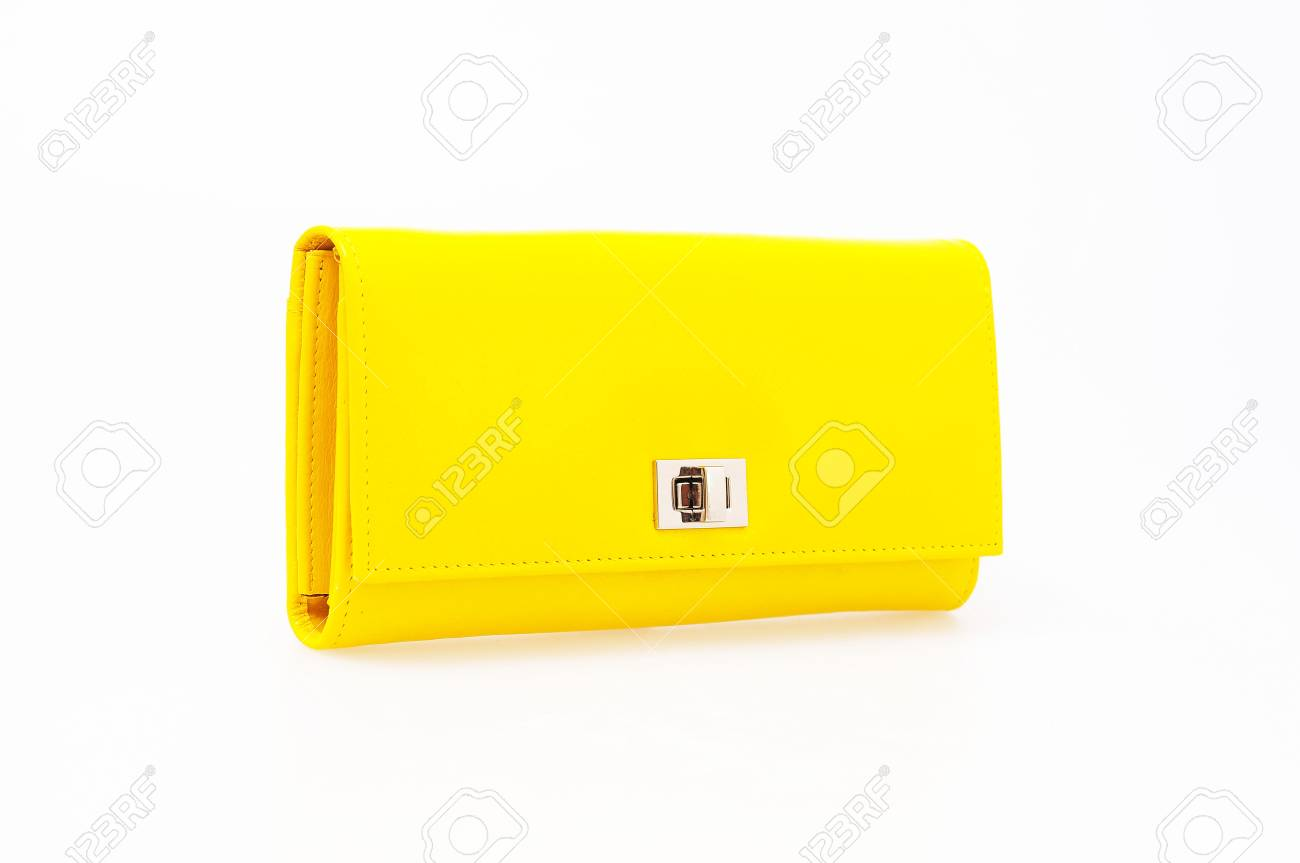 yellow purse on a white background Stock Photo - 13208265