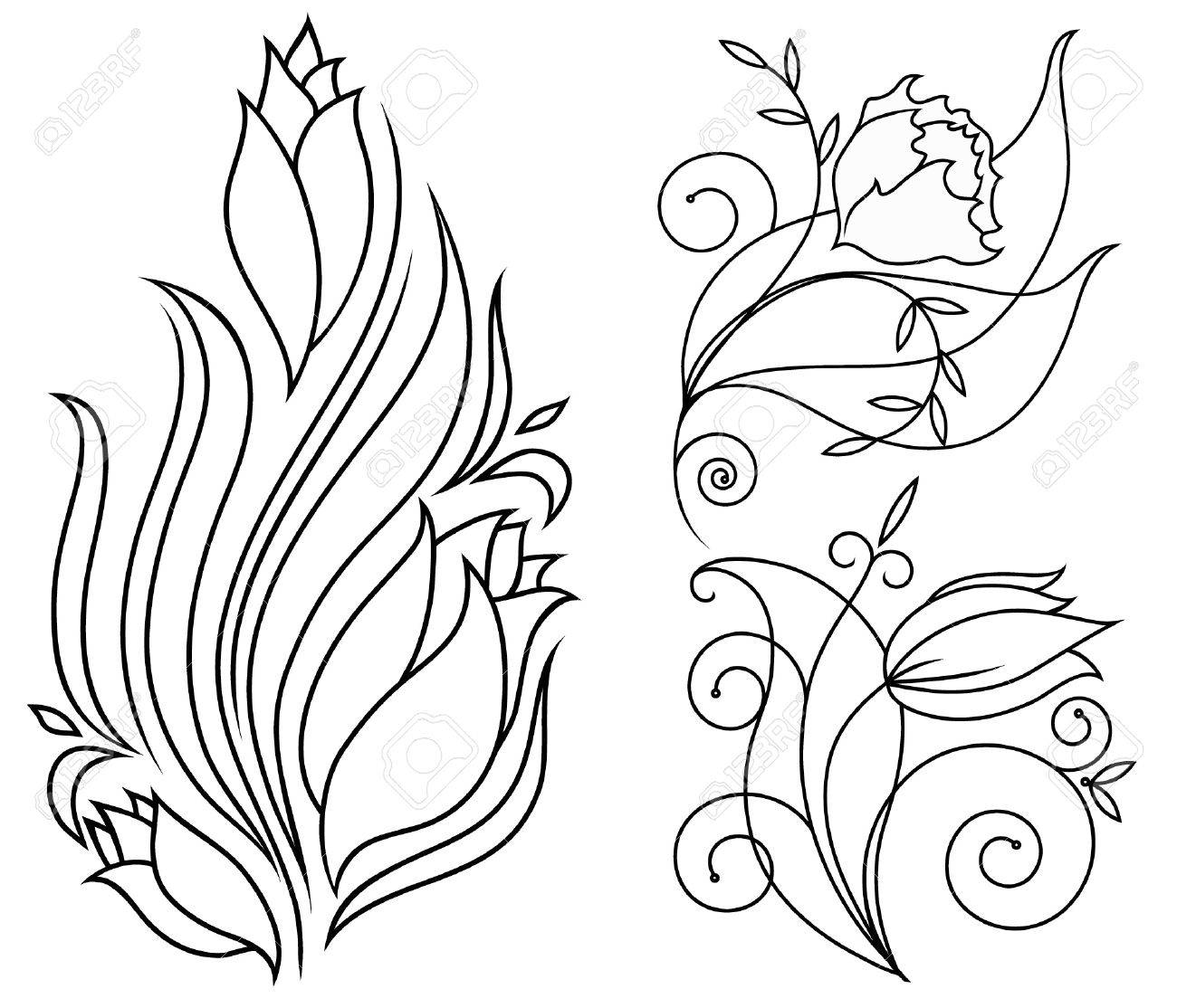 black and white flowers for the vector Stock Vector - 12988638