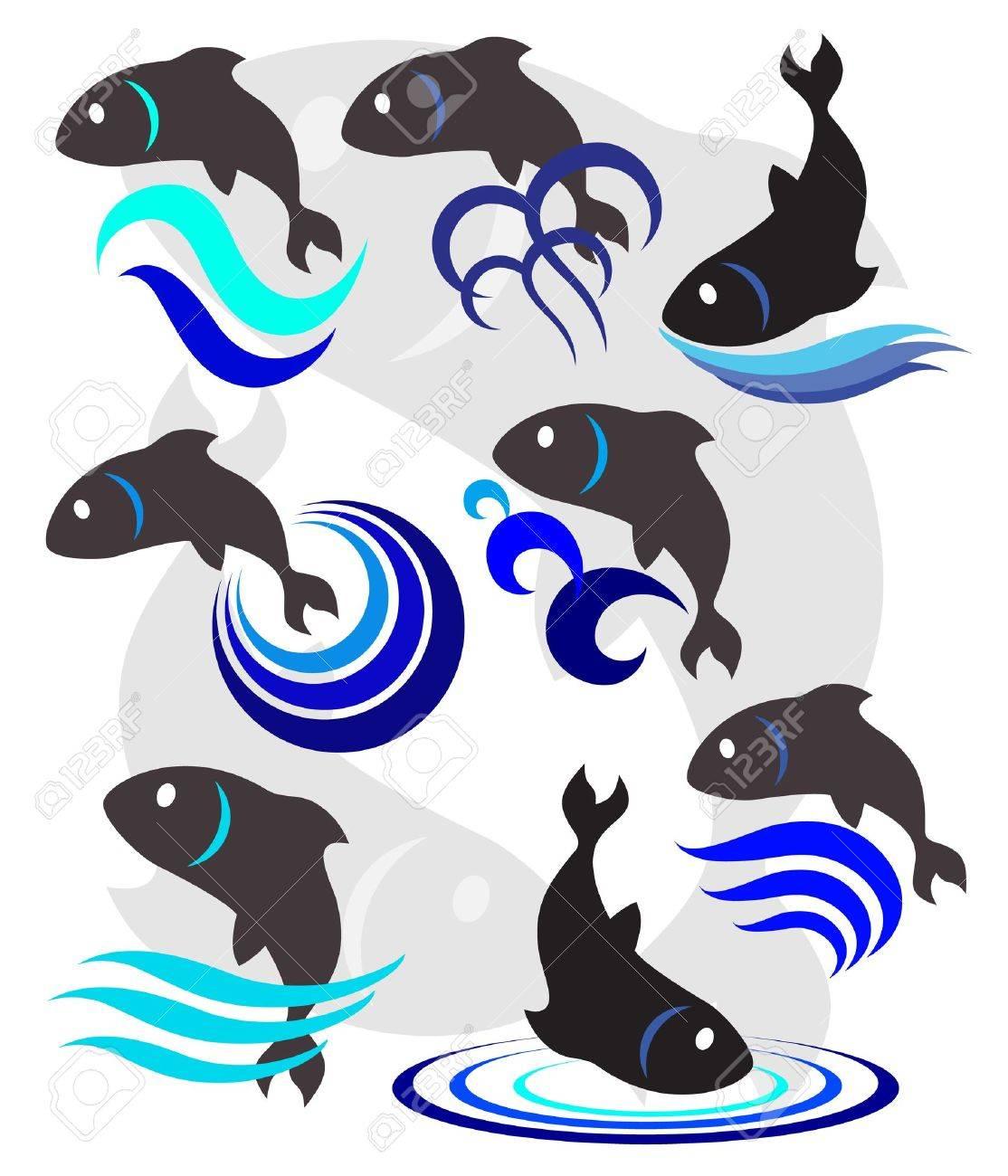 一連のロゴのための魚、魚のイラスト ロイヤリティフリークリップアート