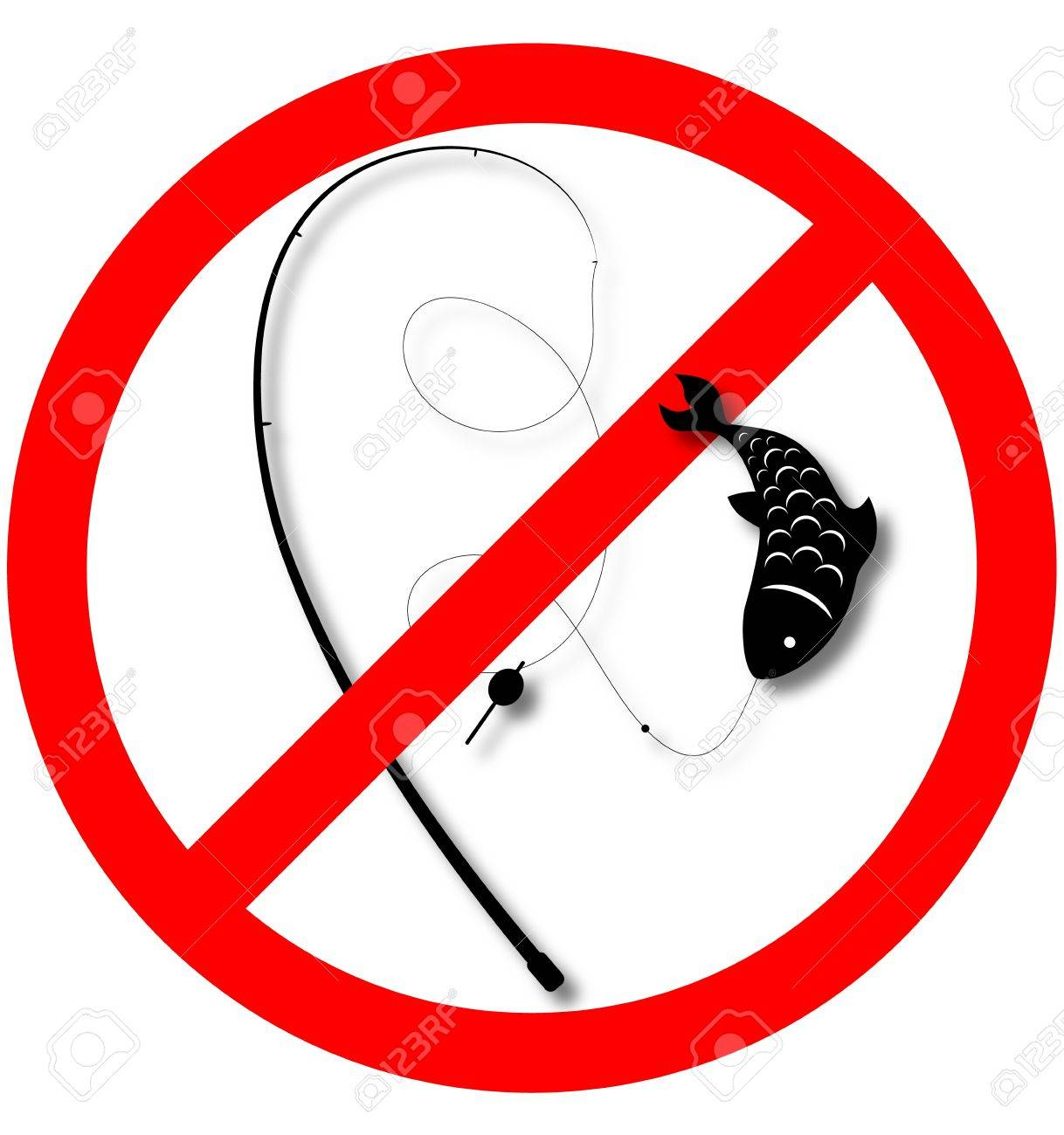 sign fishing is prohibited, not fish Stock Vector - 16401916