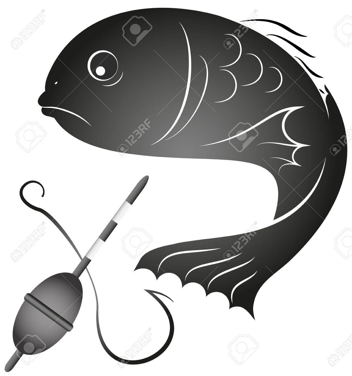 design for the fishing business, silhouette Stock Vector - 17220350