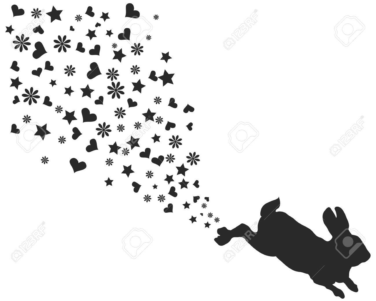 Easter Bunny Silhouette And Hearts Flowers Stars Stock Vector