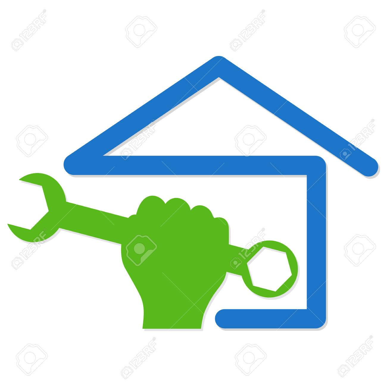 symbol vector for home renovation hand and spanner stock vector 26078817