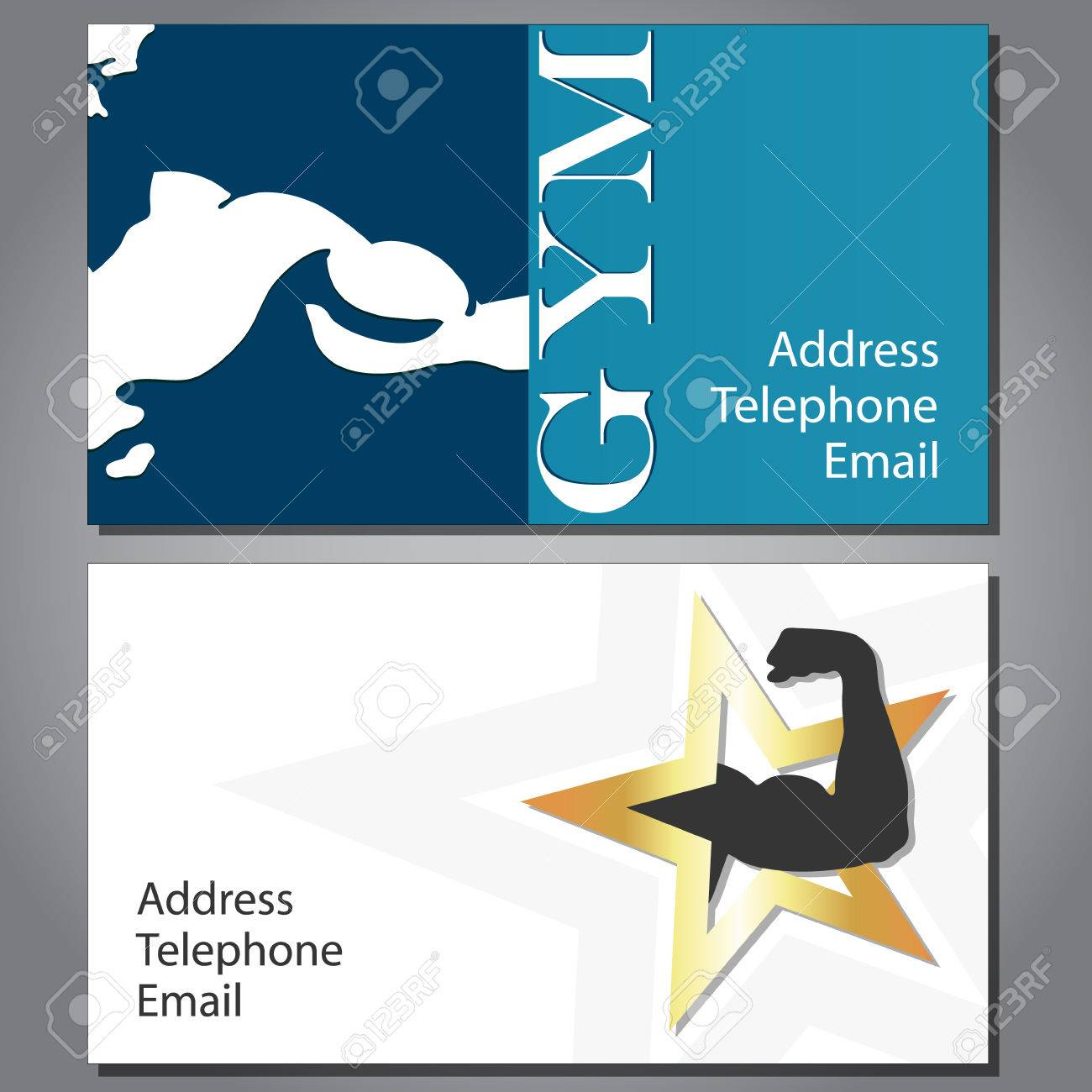 Business Card For Gym And Fitness, Vector Royalty Free Cliparts ...