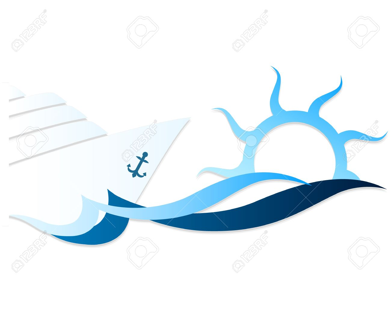 cruise ship on waves and the sun vector royalty free cliparts rh 123rf com wave vector image wave vector art