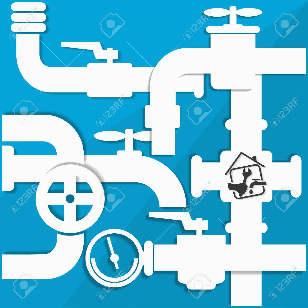 Water Pipes And Taps, Plumbing Repairs Vector Royalty Free Cliparts ...