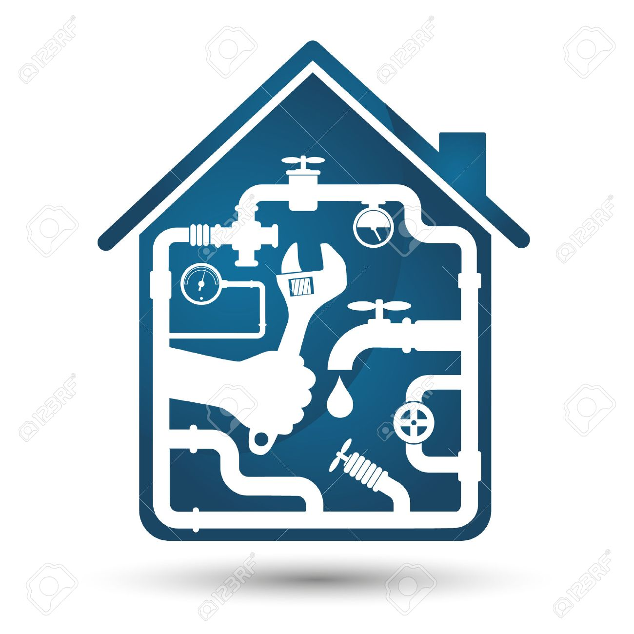 Plumbing Repair The House A Symbol Of Business Royalty Free