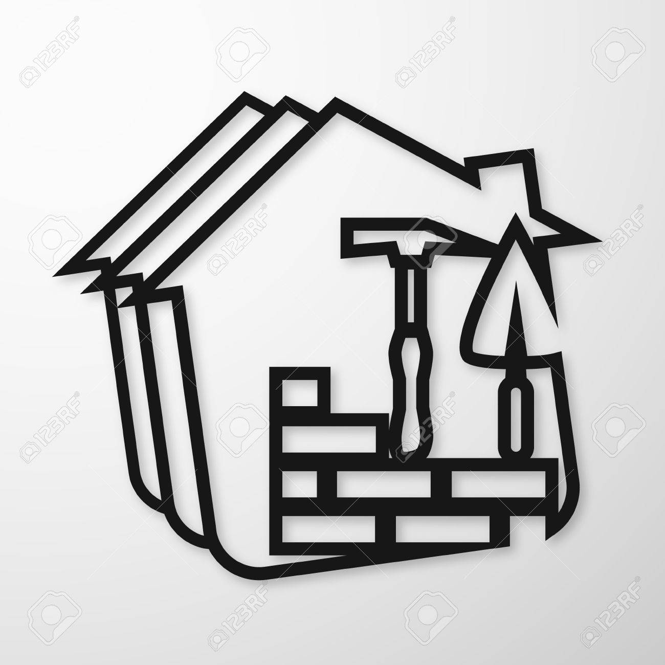Building Symbol For Business, Bricklaying And Trowel Royalty Free ...