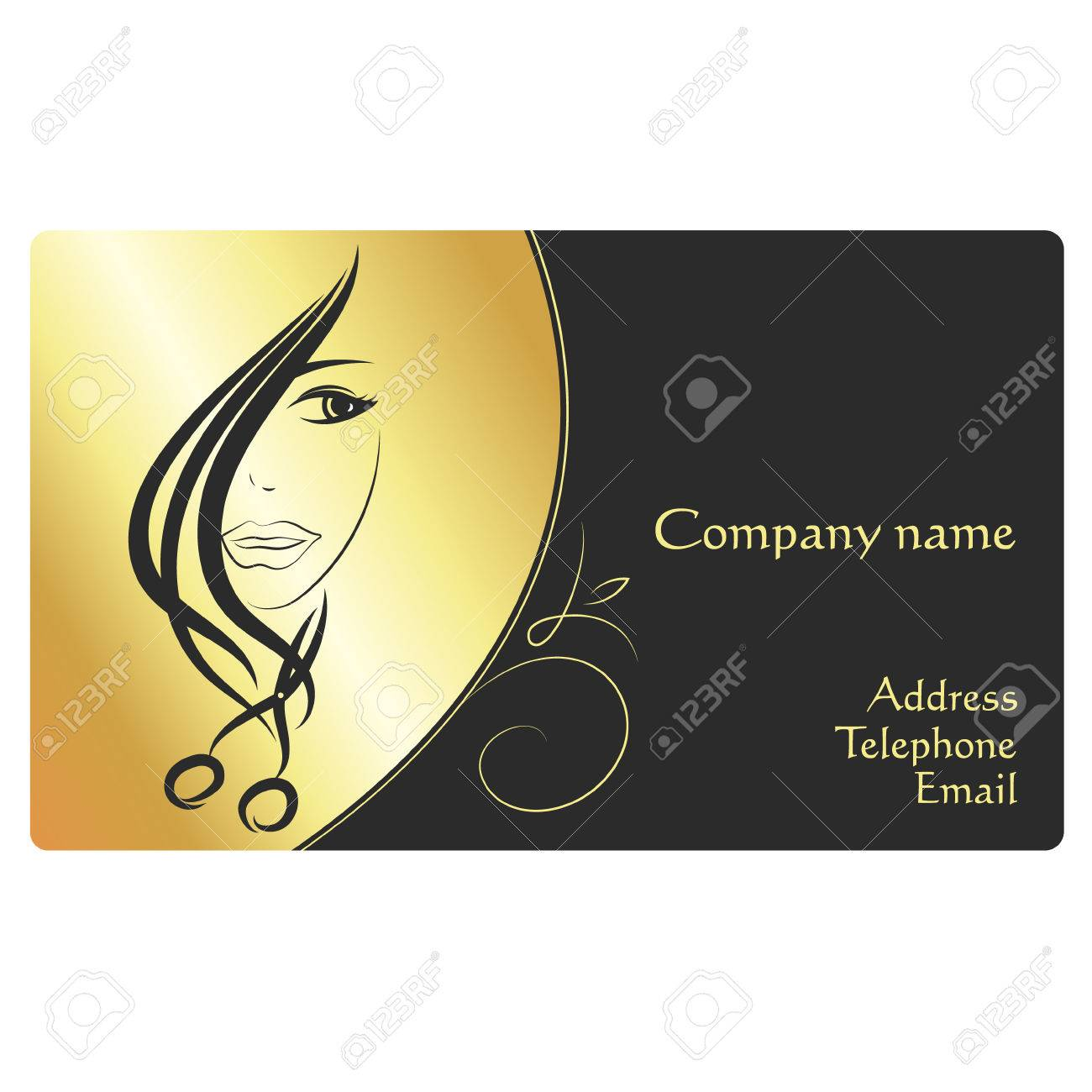 Beauty Salon Business Card, Face Girl And Scissors Royalty Free ...