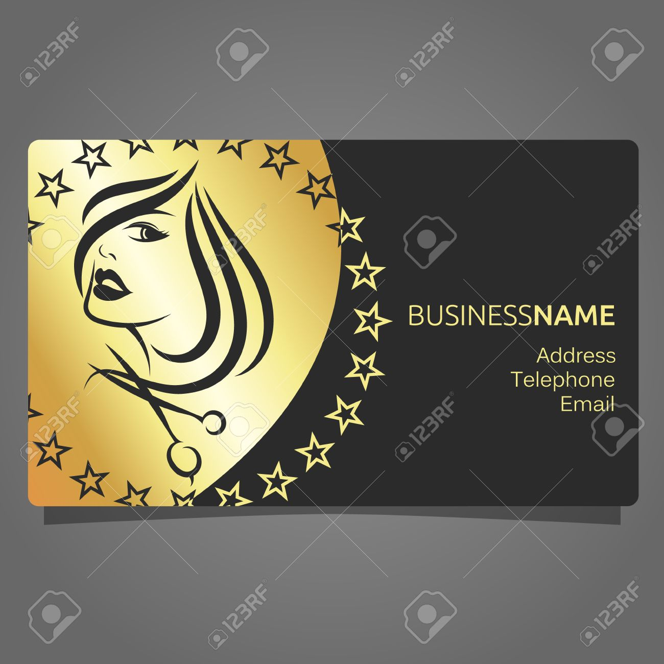 Business Card For A Beauty Salon Gold Color On Black Background Stock Vector