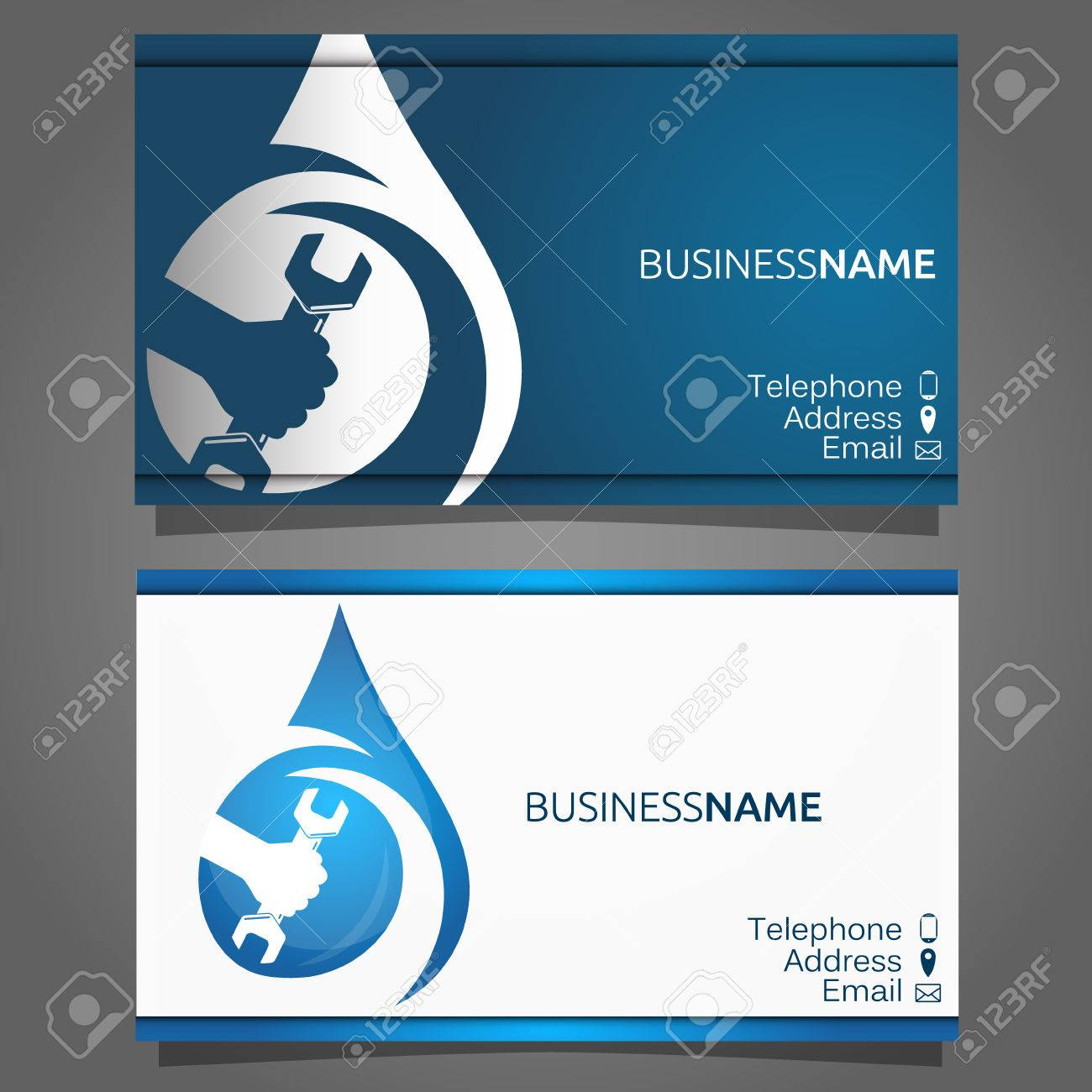 Business card for the repair of water supply and sanitary ware business card for the repair of water supply and sanitary ware wrench in hand stock colourmoves