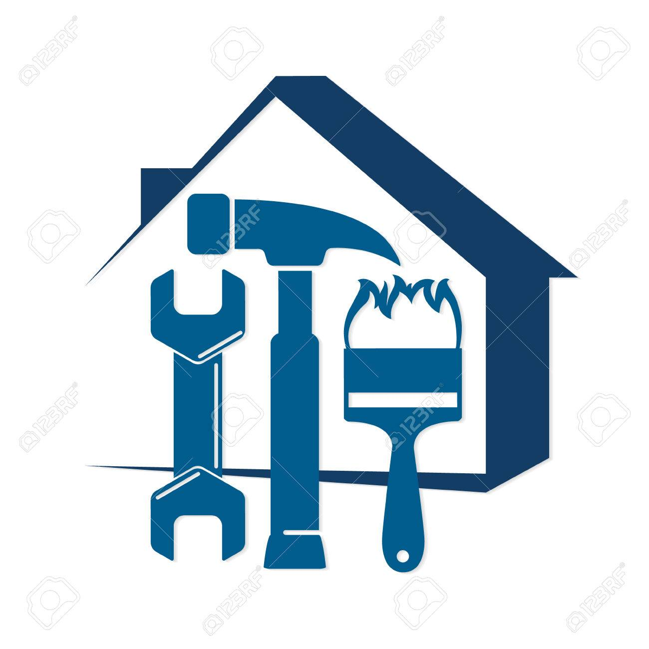 Repair of home with a tool, for business symbol - 68739270