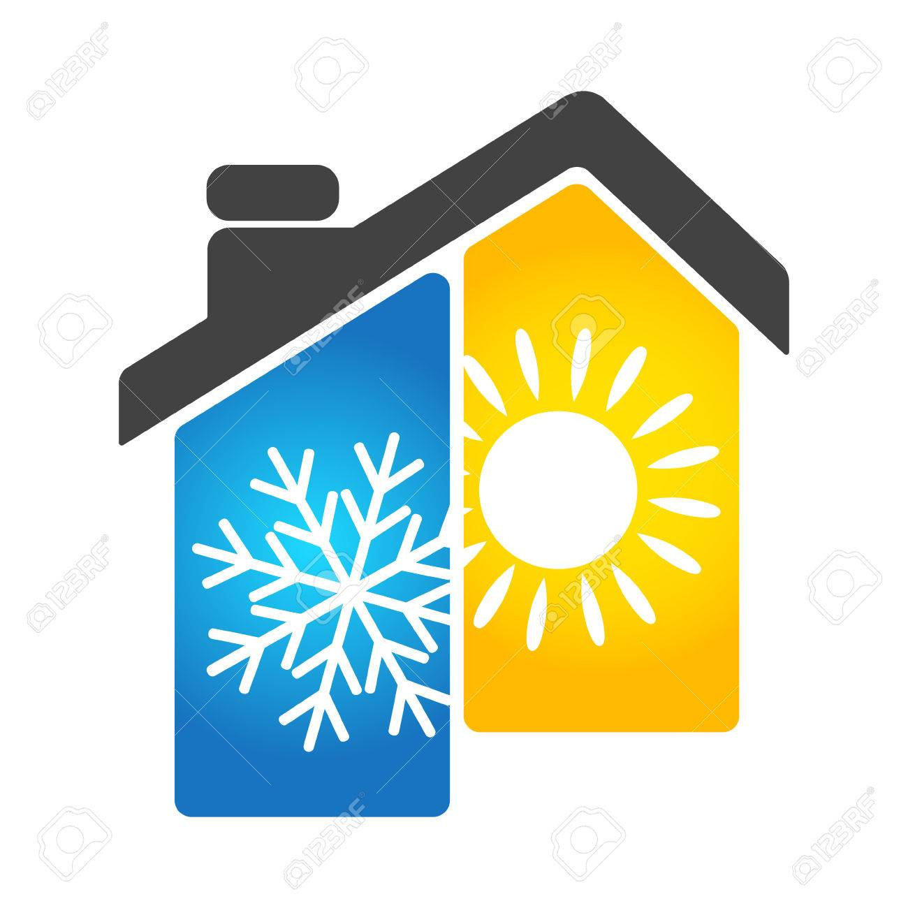 air conditioning and heating the house symbol business royalty free