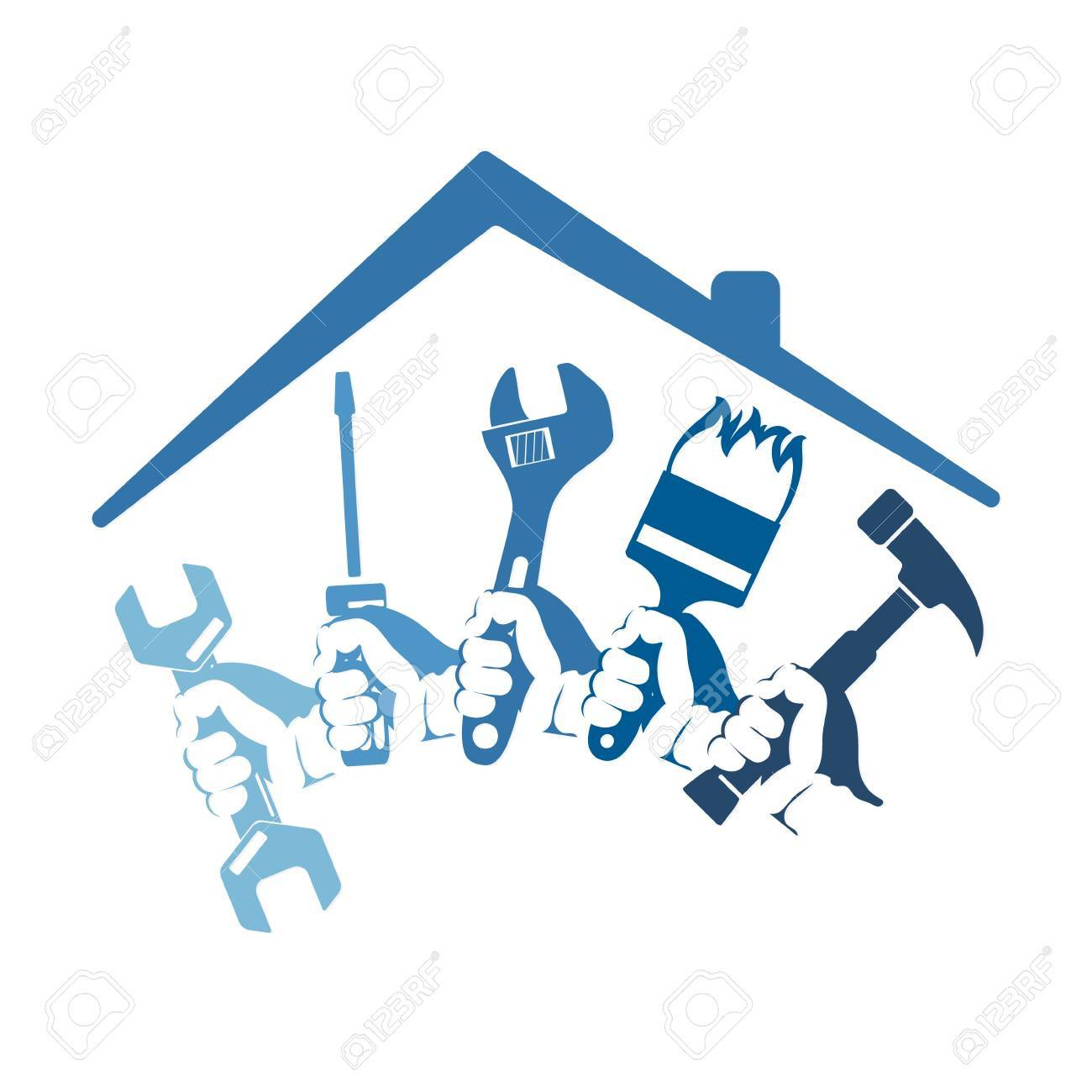 Home repairs with a tool for business symbol - 72547117