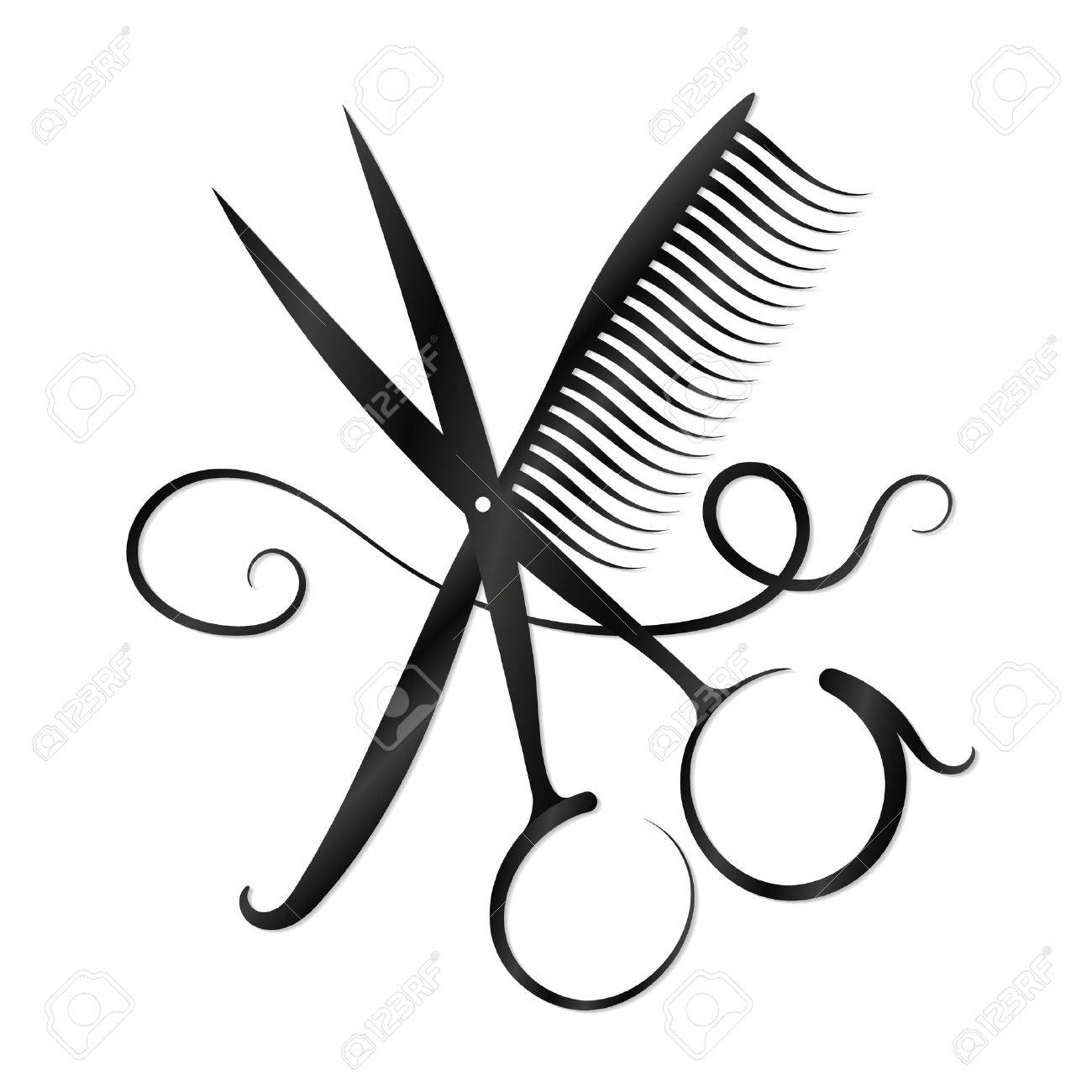 scissors comb and hair for business royalty free cliparts vectors