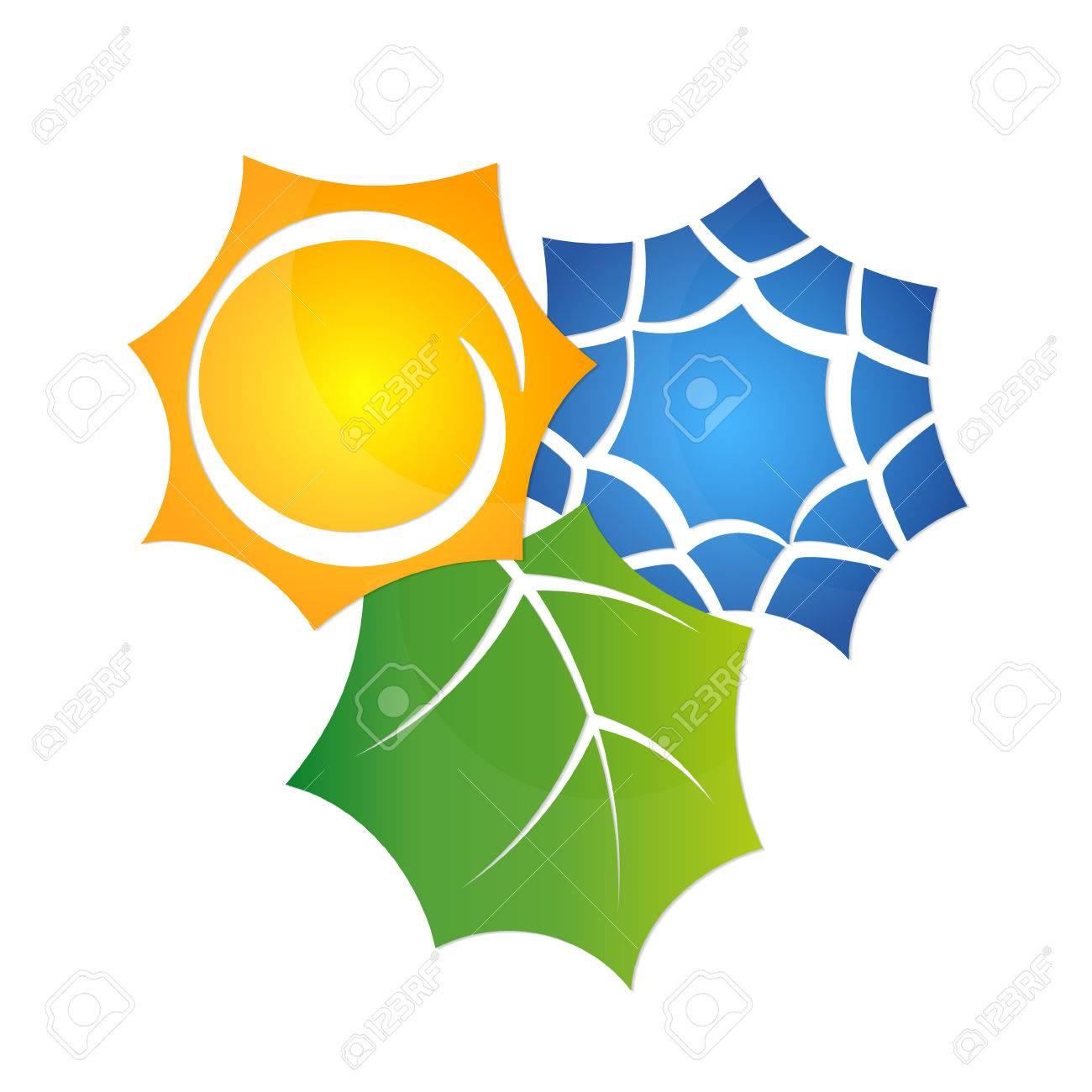 Il Simbolo Del Condizionatore D Aria è Ecologico Sole E Fiocco Di Neve Astratto