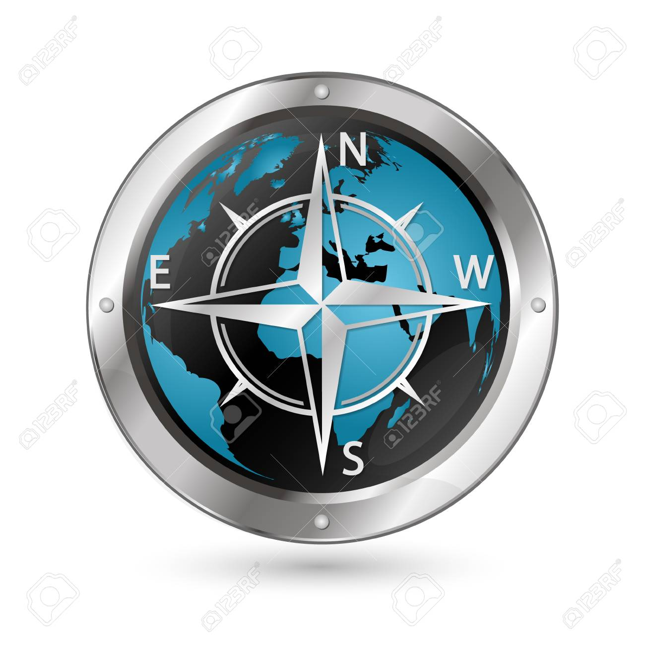 The Symbol Of The Wind Rose Against The Background Of The Globe