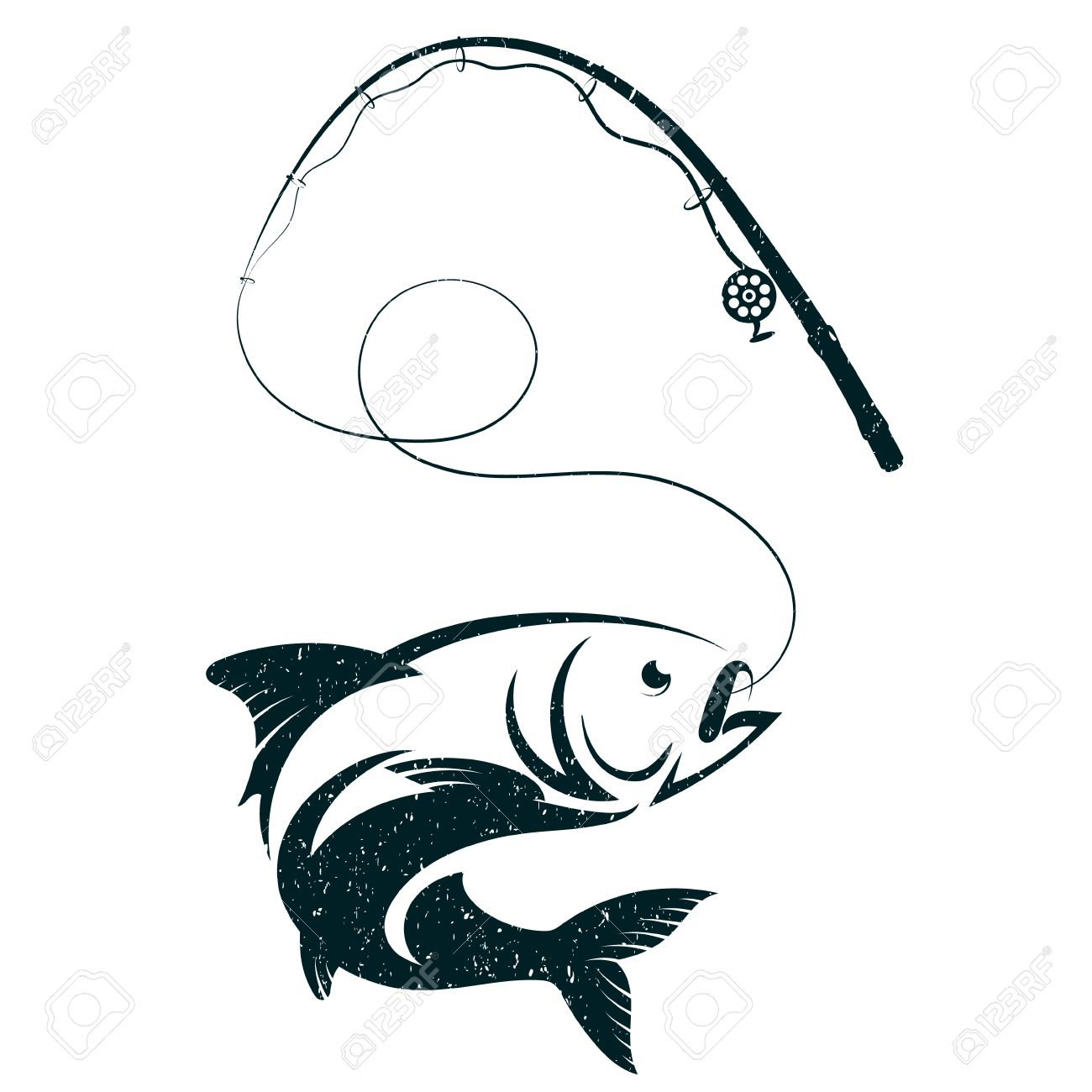 Download Fish On Hook And Fishing Rod Silhouette Vector Royalty Free Cliparts Vectors And Stock Illustration Image 80790636