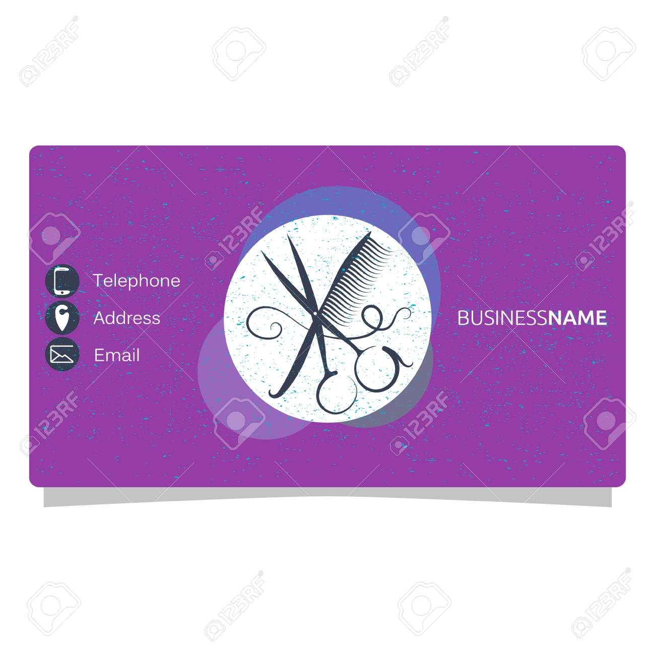 Beauty Salon Business Card, Comb And Scissors Royalty Free ...