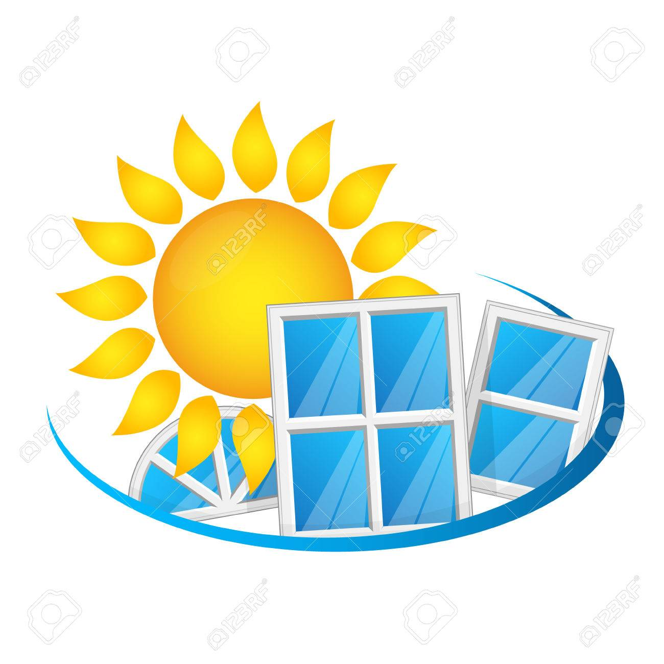 The Sun And The Windows That Conserve The Heat Symbol Royalty Free