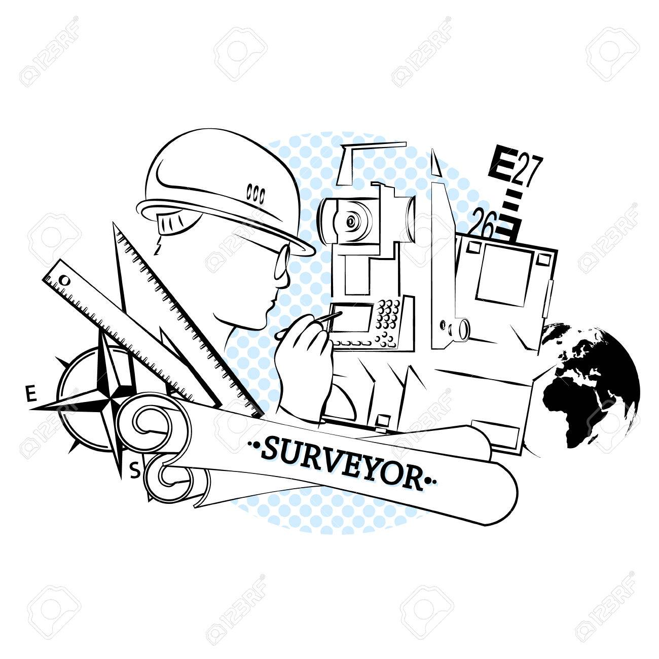 Geodesy And Architecture With Tool Silhouettes Stock Vector