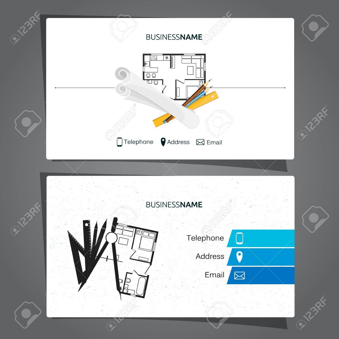 Architecture Et Carte De Visite Construction Pour Lingnieur Banque Dimages