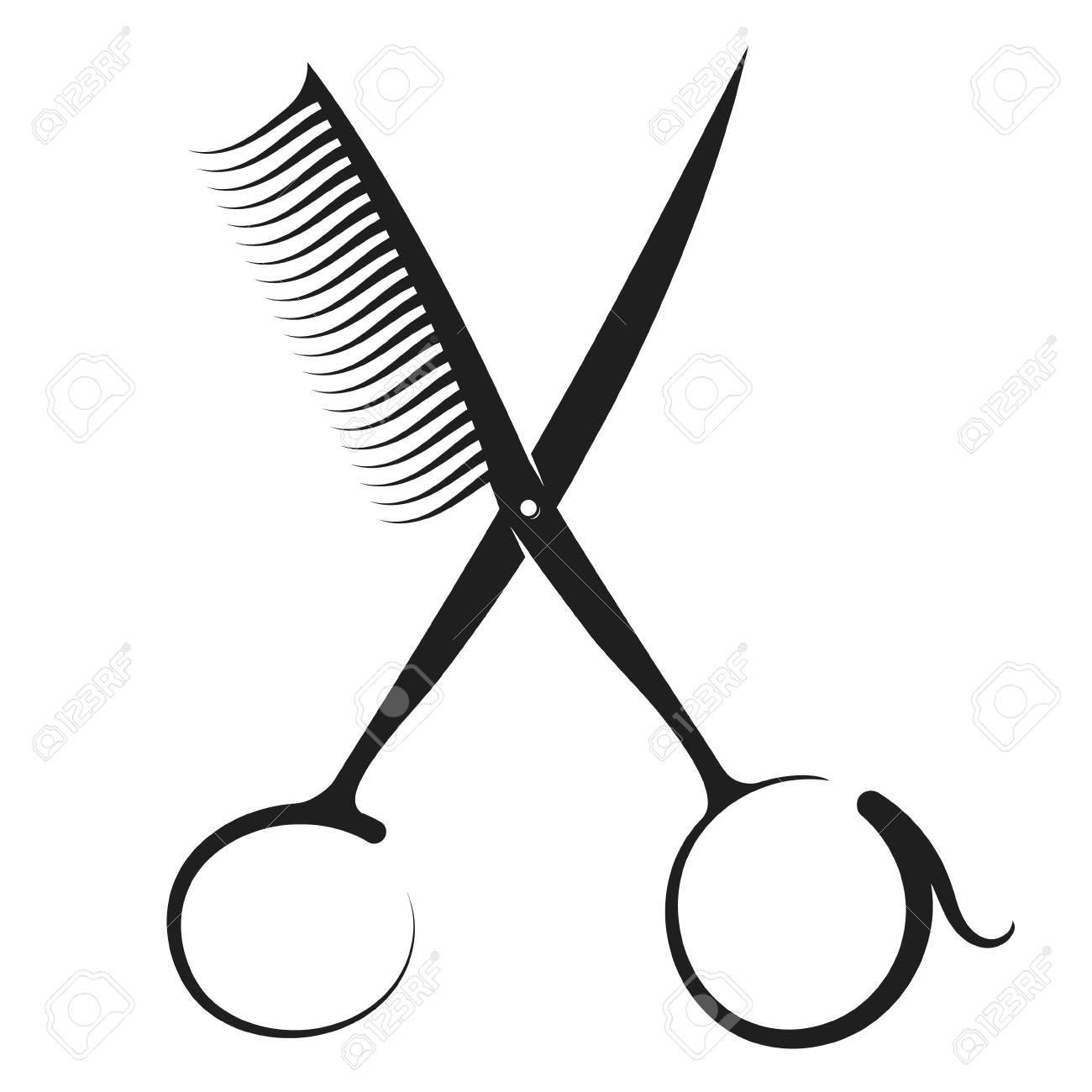 f571aaaca3792 Foto de archivo - Silueta de tijeras y peine para peluquería y salón de  belleza