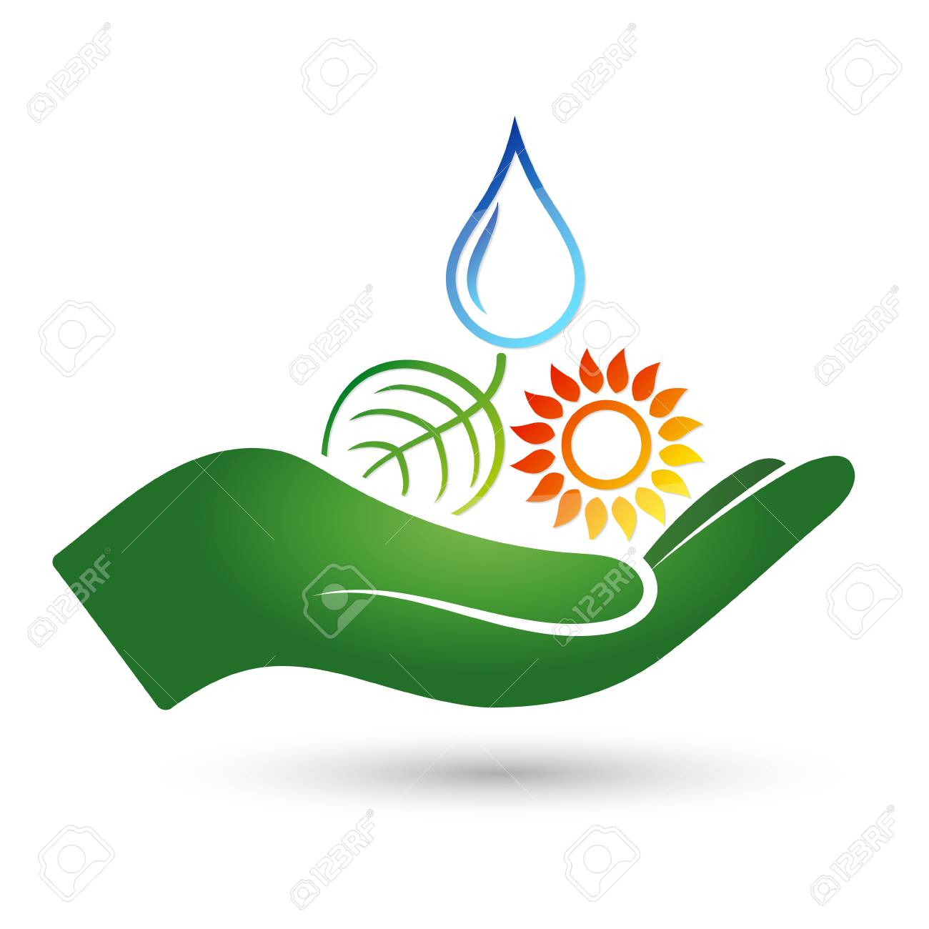 Symbols Of Alternative Energy Sources In The Hand Symbol Royalty