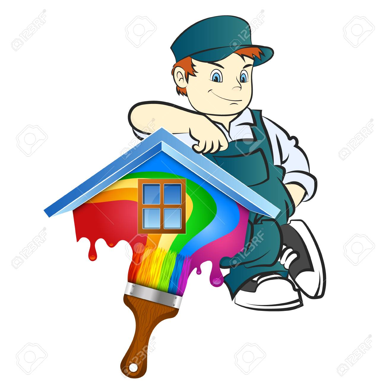 Painter with brush for painting at home illustration - 98713425