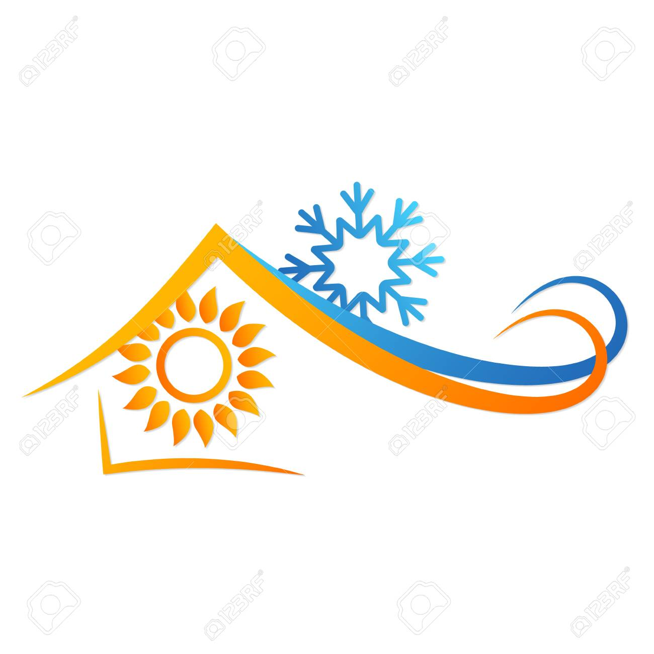 Sun and snowflake in house abstract symbol. - 98907533