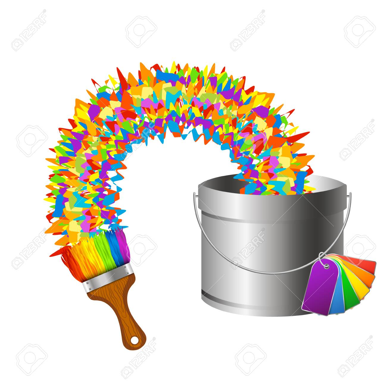 A Brush And A Bucket Of Paint Color Design Vector Illustration