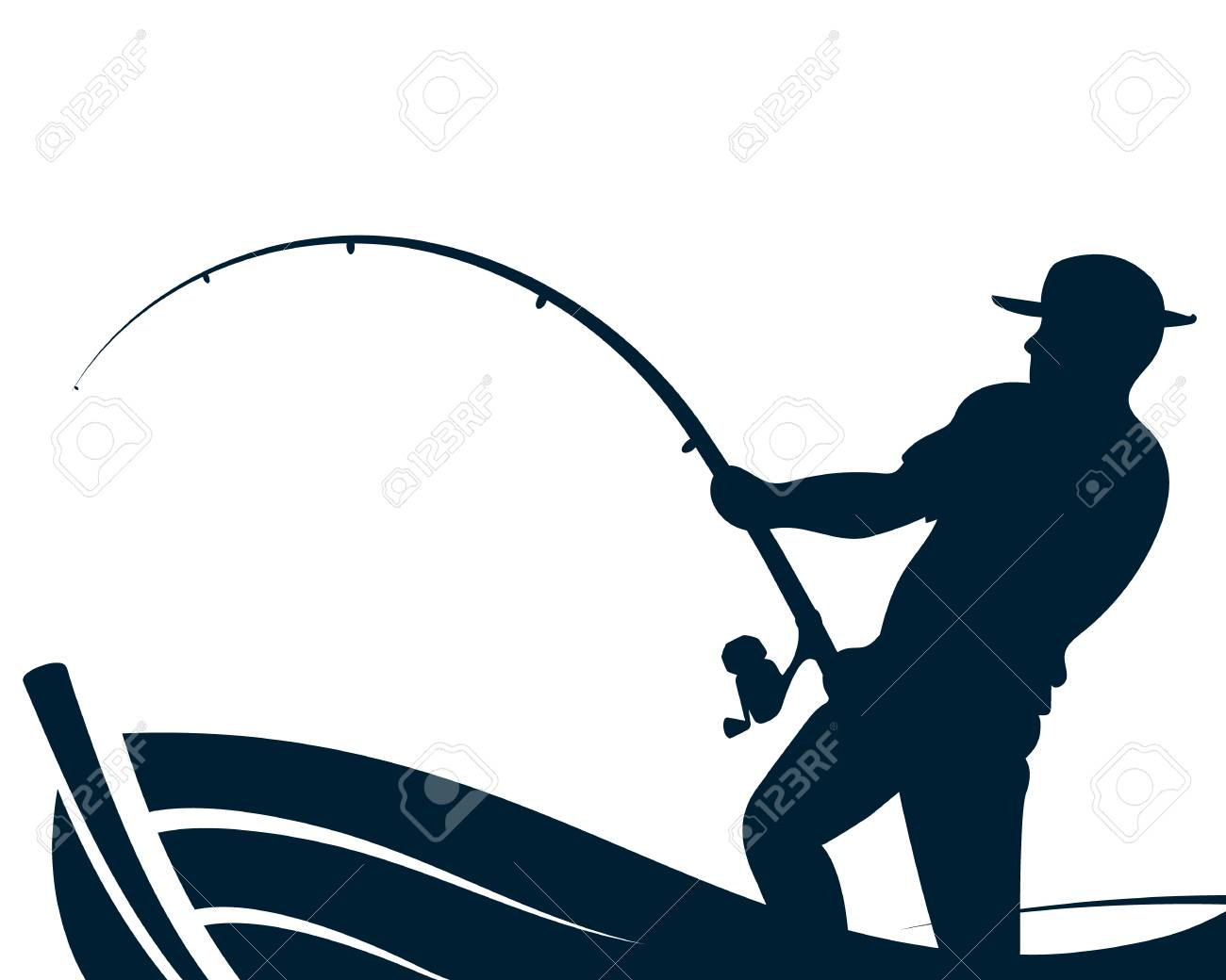 Fisherman with a fishing rod in a boat silhouette - 102175145
