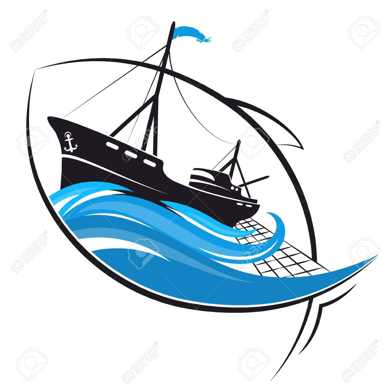 Fishing Boat On The Waves And Fish Silhouette Royalty Free Cliparts Vectors And Stock Illustration Image 113560777