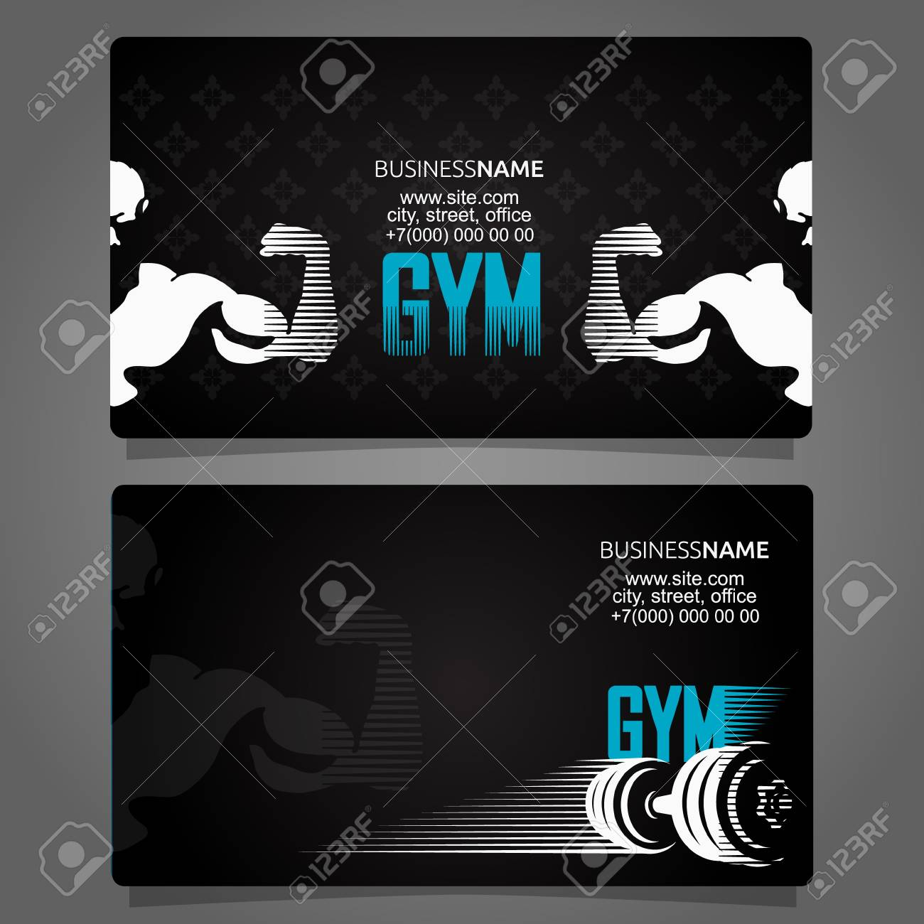 Fitness and gym business card unique concept - 105756844