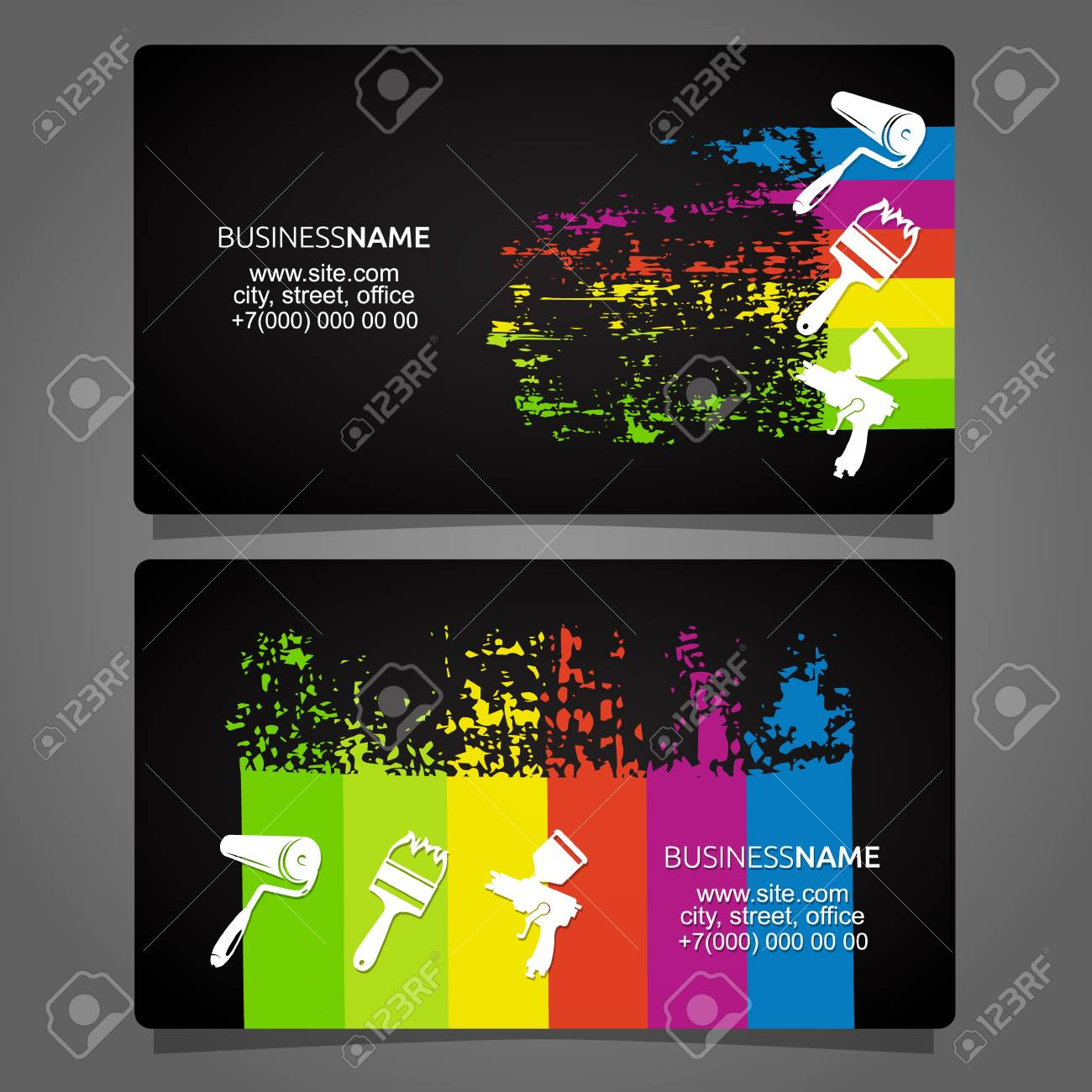 Painting Different Types Of Business Card Concept Royalty Free