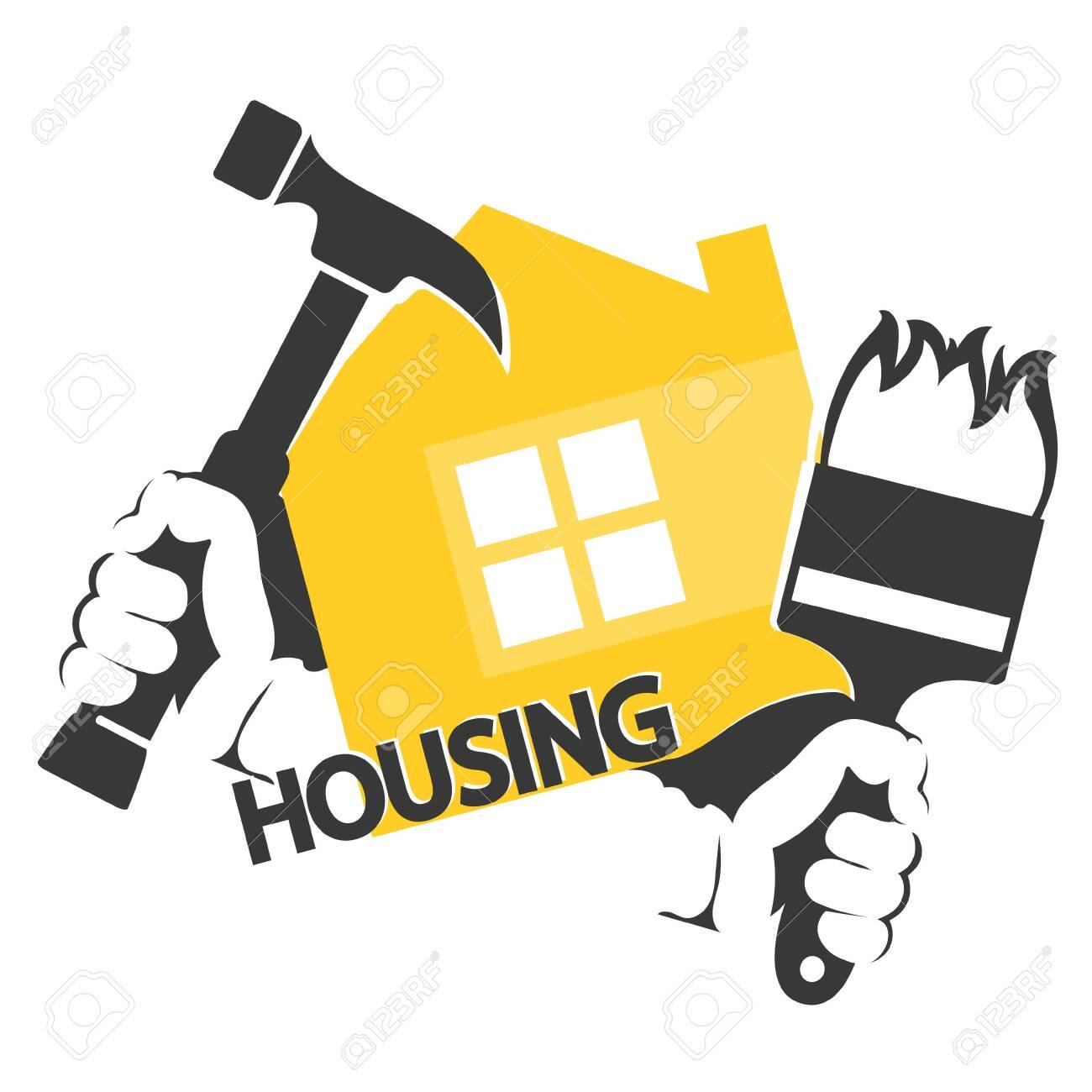 Housing repair symbol hammer and brush tool in hand - 129709726