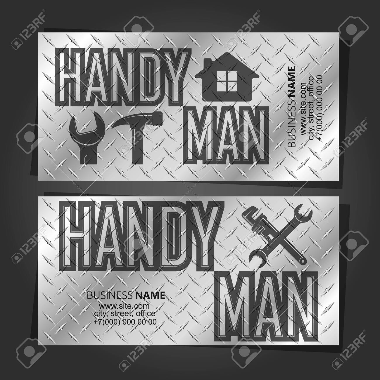 Handyman repair and service business card concept metal - 136785186